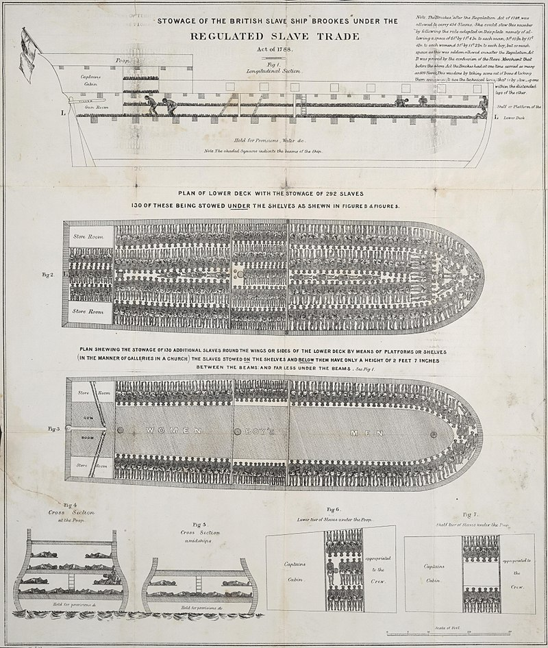 A plan of the slave ship Brookes, showing the extreme overcrowding suffered by slaves on the Middle Passage