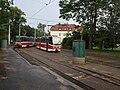 Smyčka Špejchar, s tramvajemi.jpg