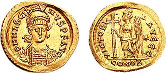 Crux gemmata - A gold solidus of Marcian, 450–457.