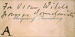 "A rectangular calling card printed with ""Marquess of Queensberry"" in copperplate script."