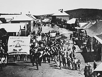 Temperance movement - Sons of Temperance procession, Hill End, New South Wales, 1872