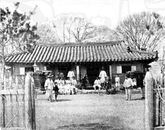 Ryongyon County - Church at Sorae, 1895 by Korean Christians