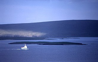 Sound Gruney - Sound Gruney from Yell, with the Fetlar ferry in the foreground and Urie Lingey and Vord Hill, Fetlar beyond