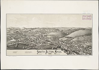 Acton, Massachusetts - Lithograph of South Acton from 1886 by L.R. Burleigh with list of landmarks