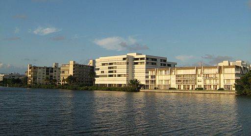 South Palm Beach condominiums from lake
