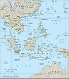 Sydostasien med de olika delarna av Australasiatiska medelhavet.