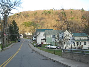 Pennsylvania Route 167 - Route 167 southbound approaching its southern terminus with U.S. Route 11 in Hop Bottom