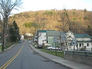 Hop Bottom, Pennsylvania - Image: Southern terminus of Pennsylvania State Route 167 in Hop Bottom