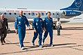 Soyuz TMA-13M crew at the airport in Baikonur.jpg