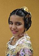 Spanish girl at Las Fallas (Valencia Spain Spring Festival) 2013.jpg