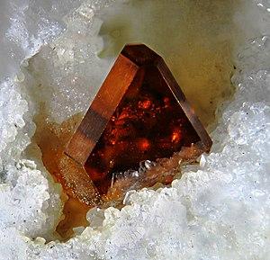 Binn - Sphalerite crystal on Dolomite, Lengenbach. Photo and Coll. J. Rosell