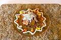 Spicy mandala of artichoke flower, milk-fed lamb belly, lamb sweetbreads, curry yogurt, beetroot, spinach, turnip, lemon, tangerine, sweet potato, leaves and flowers (15686788269).jpg