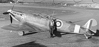 No. 41 Squadron RAF - Sqn Ldr Donald O. Finlay, OC 41 Squadron, standing with Spitfire IIa, P7666, EB-Z, which was his personal mount. He claimed a destroyed Me109 on his first sortie on the day the aircraft was delivered, 23 November 1940.