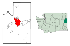Location of Spokane in Spokane County and Washington