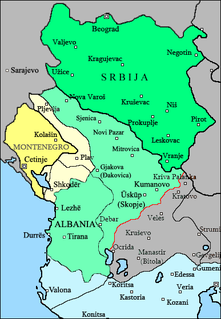 Partition of Albania delineation of the new Albanian state (independence proclaimed on 1912) by the 1913 London Conference, leaving Albanian and non-Albanian populations on both sides of the border; seen as a partition of Albania by Albanian nationalists