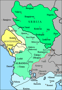 Territory of Albania, under the control of the provisional government of Albania seated in Vlorë (marked as Valona, its Italian name)