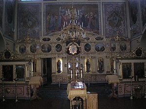 Analogion - Three analogia, covered with gold cloth. (Saint Nicholas monastery, Gomel, Belarus).