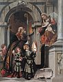 St Nicholas of Bari presents the Rovelli students to Madonna and Child, by Moretto da Brescia.jpg