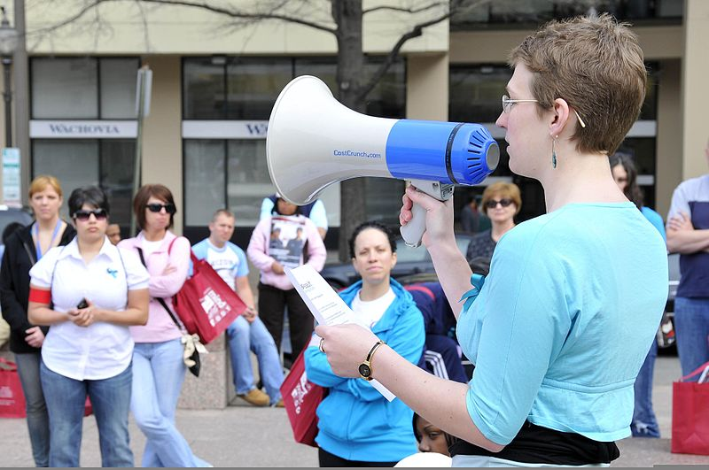 File:Stacey Lantz reads the Sexual Assault Awarness Month (SAAM) proclamation while holding a bullhorn as she kickoffs the SAAM Walk at Pennsylvania Avenue, Washington, D.C., April 7, 2011 110407-F-OR567-009.jpg