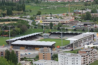 Sion, Switzerland - Stadium and apartment buildings in Sion