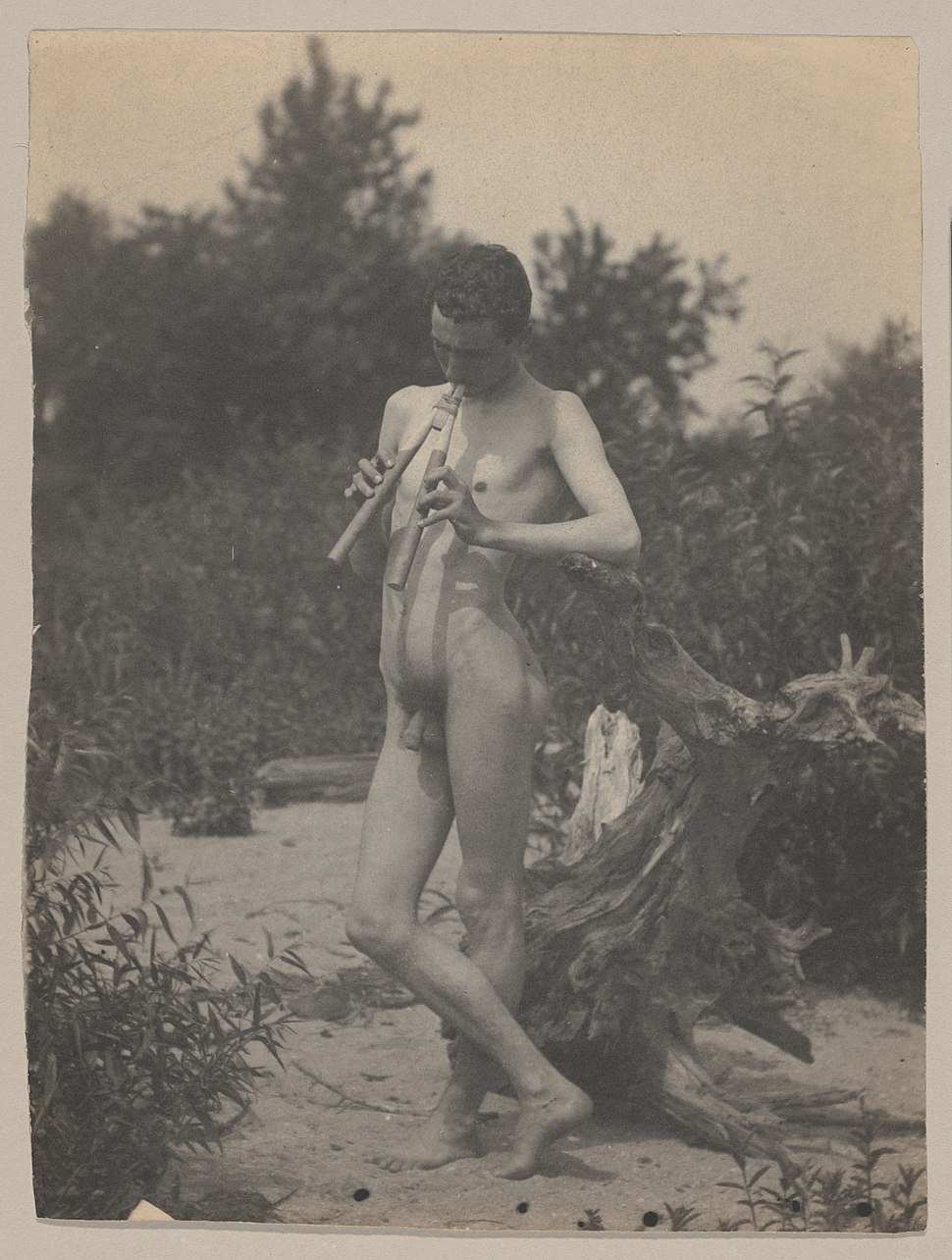 Standing Male Nude with Pipes - Thomas Eakins