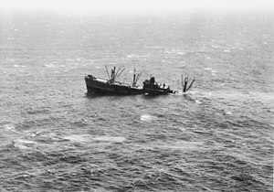 Japanese submarine I-21 - Starr King sinking after being attacked by I-21 near Port Macquarie on 10 February 1943.