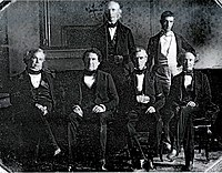 Polk and his cabinet in the White House dining room; (absent: Secretary of State James Buchanan)