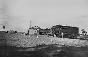 Western railway line, Queensland - Image: State Lib Qld 1 115308 Railway station at Muckadilla, Queensland, ca. 1920