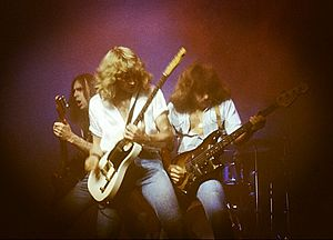 "Status Quo (band) - The ""Frantic Four"" lineup; left-to-right: Francis Rossi, Rick Parfitt and Alan Lancaster (obscured: John Coghlan) performing at the Hammersmith Odeon in London, 1978"