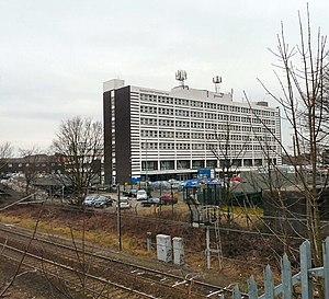 Stepping Hill Hospital - Hospital viewed from the railway bridge on Bramhall Moor Road