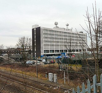 Stepping Hill Hospital - Hospital viewed from the railway bridge on Bramhall Moor Road