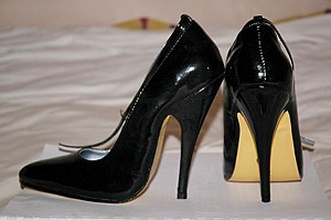 A pair of high heeled shoe with 12cm ...
