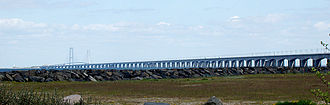 Great Belt Fixed Link - The West bridge (foreground) seen from Nyborg at Funen.
