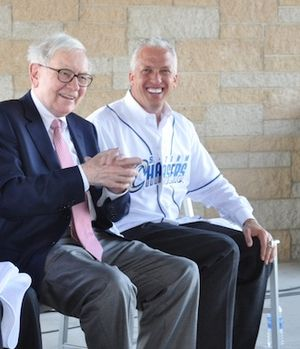 Gary Green (baseball owner) - Warren Buffett (left) and Gary Green (right) at news conference announcing new ownership of the Omaha Storm Chasers.