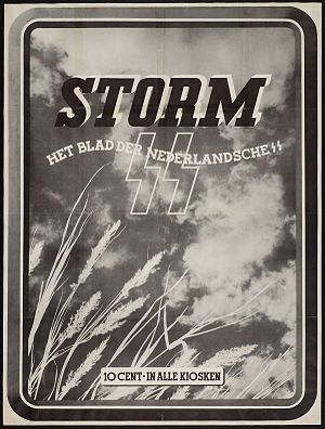 "Nederlandsche SS - ""Storm the magazine of the Dutch SS- in all kiosks 10 cents."""