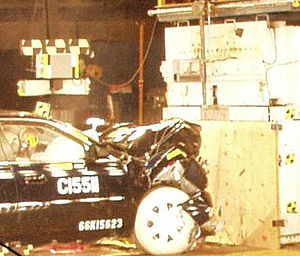 Crumple zone - A crash test illustrates how a crumple zone absorbs energy from an impact.