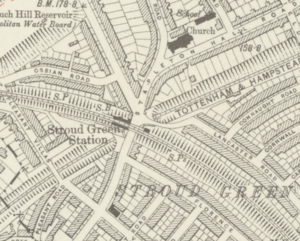 Stroud Green railway station - Stroud Green station on a 1920 map