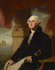 retrato de Washington sentado de frente para a esquerda por Gilbert Stuart