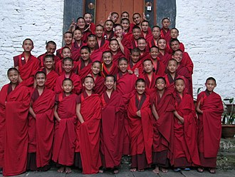 Lhuntse Dzong - An assembly of student monks