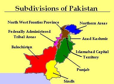 Subdivisions of Pakistan Map