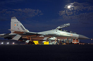 Exercise Red Flag - An Indian Air Force Sukhoi Su-30MKI undergoes post-flight maintenance during the Red Flag exercise in 2008.