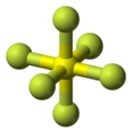 Ball and stick model of sulfur hexafluoride