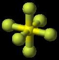 Kugle- og pindmodel af svovlhexafluorid