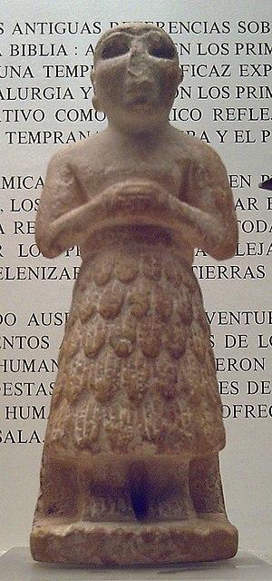 "Sumerian religion - Statuette of a ""praying Sumerian"", Gudea, Early Dynastic Period III (c. 2500 BC)"