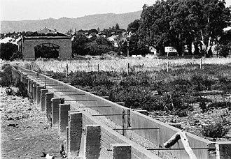 Regency Park, South Australia - Islington Sewage Farm Straining Shed, facing east in the late 19th century