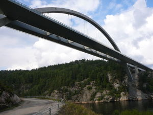 European route E6 - The Svinesund Bridge crosses the border between Norway and Sweden