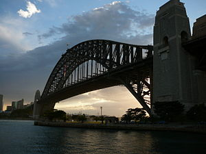 Pylon (architecture) - Sydney Harbour bridge afternoon - the north pylon is on the right side of the image