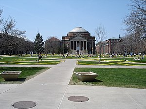 Syracuse University – Comstock Tract buildings - Hendricks Chapel on the Quad