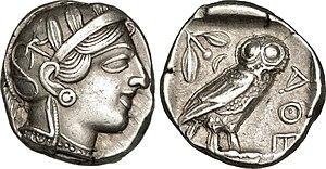 Athena - Athenian tetradrachm representing the goddess Athena