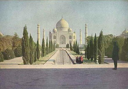 Color photograph of the Taj Mahal. Source: The National Geographic Magazine, March 1921 Taj Mahal 1921.JPG